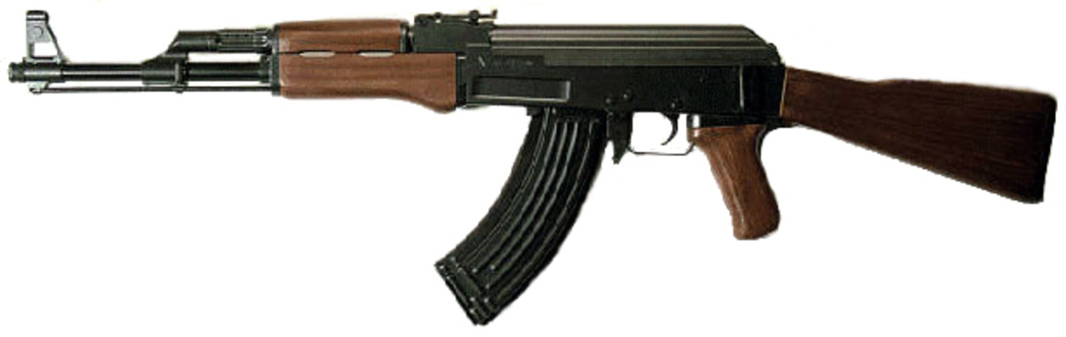A semi-automatic AK-47. AK-47s have been used in mass killings in America. The fully automatic version is not legal in America, but semi-autiomatics can still be bought [1]