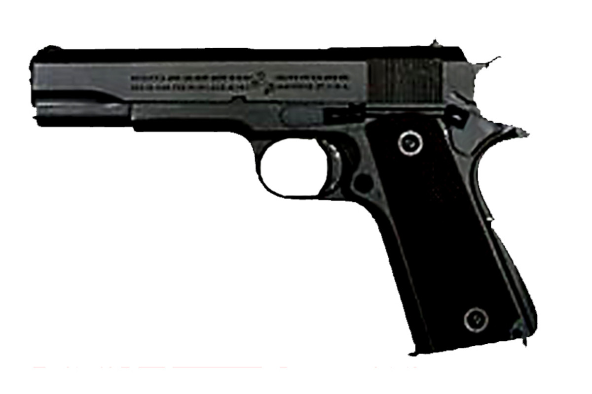 The Colt M1911 A1 .45 pistol, a popular civilian gun both for recreational purposes and as a concealed carry weapon (6)
