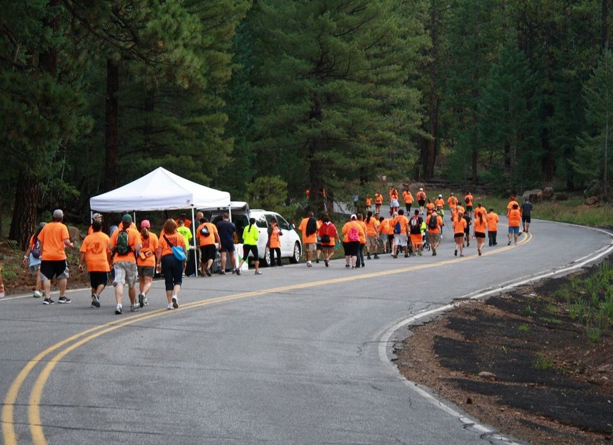 There are water and snack stations more than every mile, with portable bathrooms nearby.