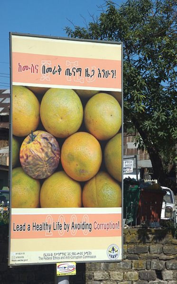 "Anti-corruption PSA in Ethiopia. ""One Rotten Grapefruit . . . (2141752816)"" by A. Davey from Where I Live Now: Pacific Northwest - One Rotten Grapefruit . . .Uploaded by Elitre. Licensed under Creative Commons Attribution 2.0"