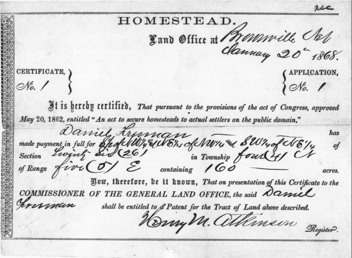Homestead Act Document