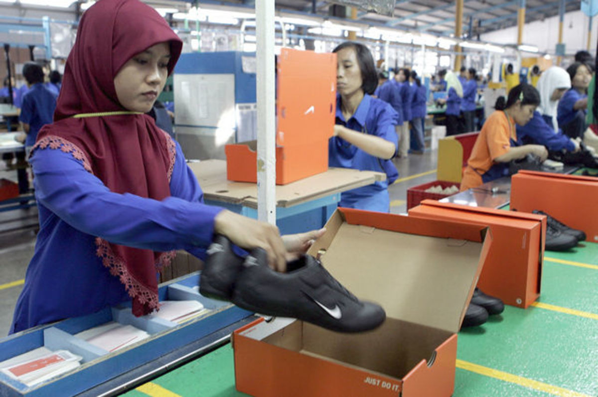 Nike shoe production in Asia.