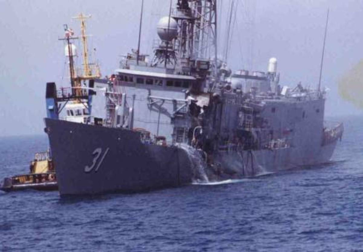 USS Stark after 37 crew members were killed by an Iraqi missile on May 17, 1987.