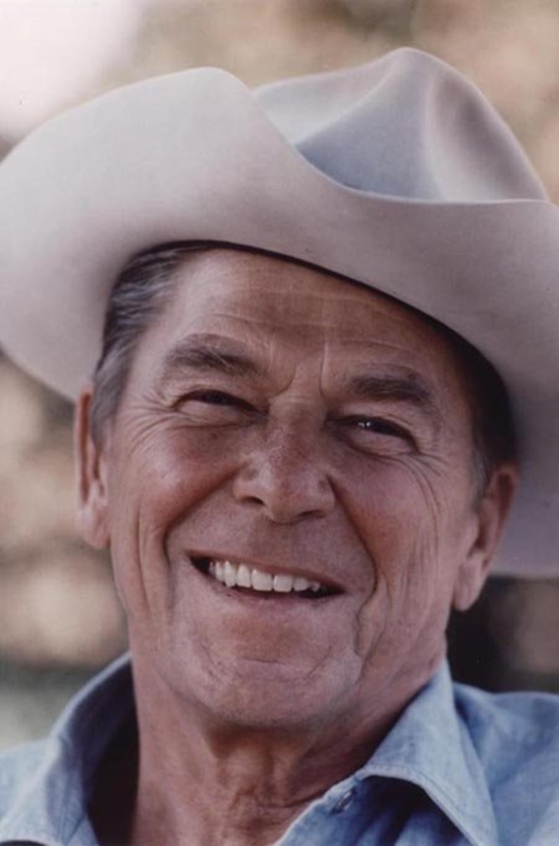 Ronald Reagan wearing cowboy hat at Rancho del Cielo, 1976.