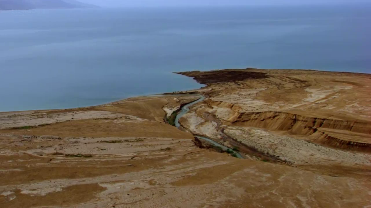 The Jordan River as it empties into the Dead Sea