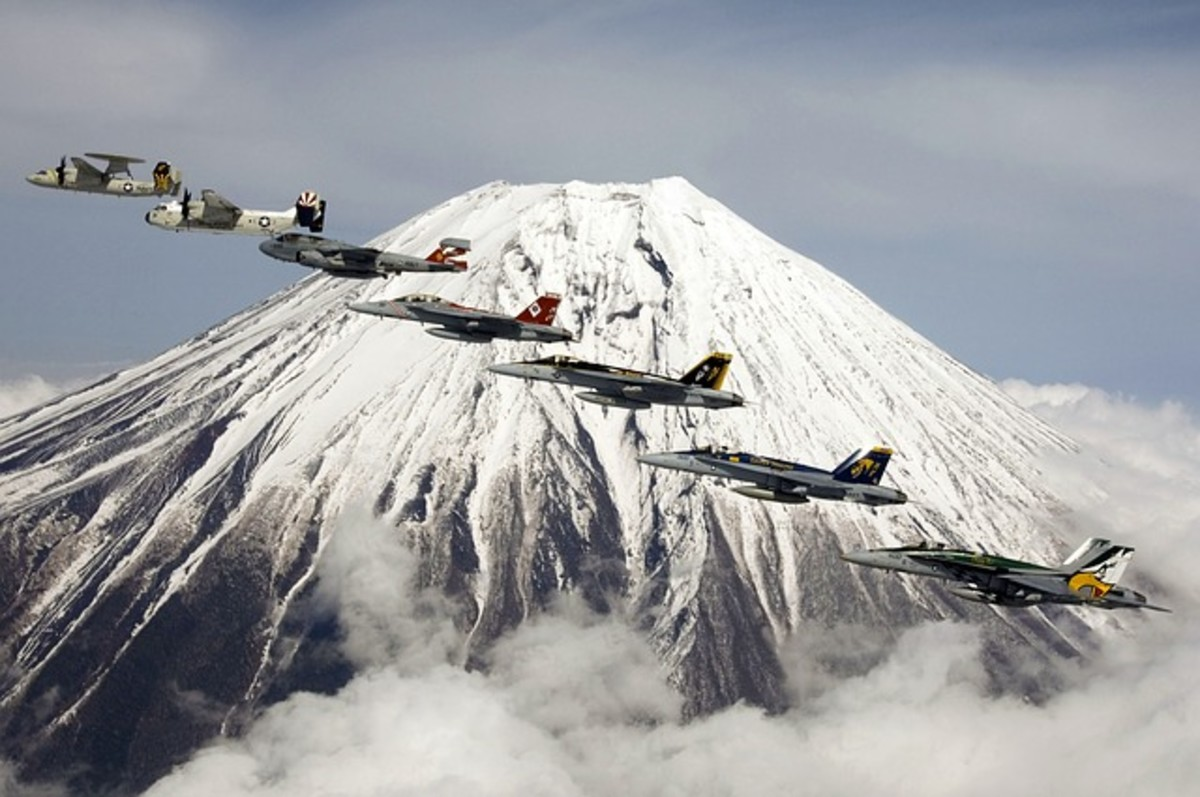 A fly-by past Mt. Fujiama in Japan.