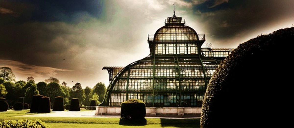 """A greenhouse building in Vienna, Austria.  The """"greenhouse effect"""" works in a similar way to hot buildings, trapping heat in the Earth's atmosphere."""