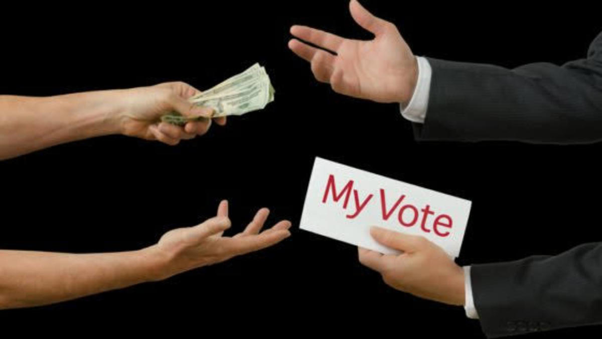 Exchange of money for votes. A common political corrupt practice in Nigeria.
