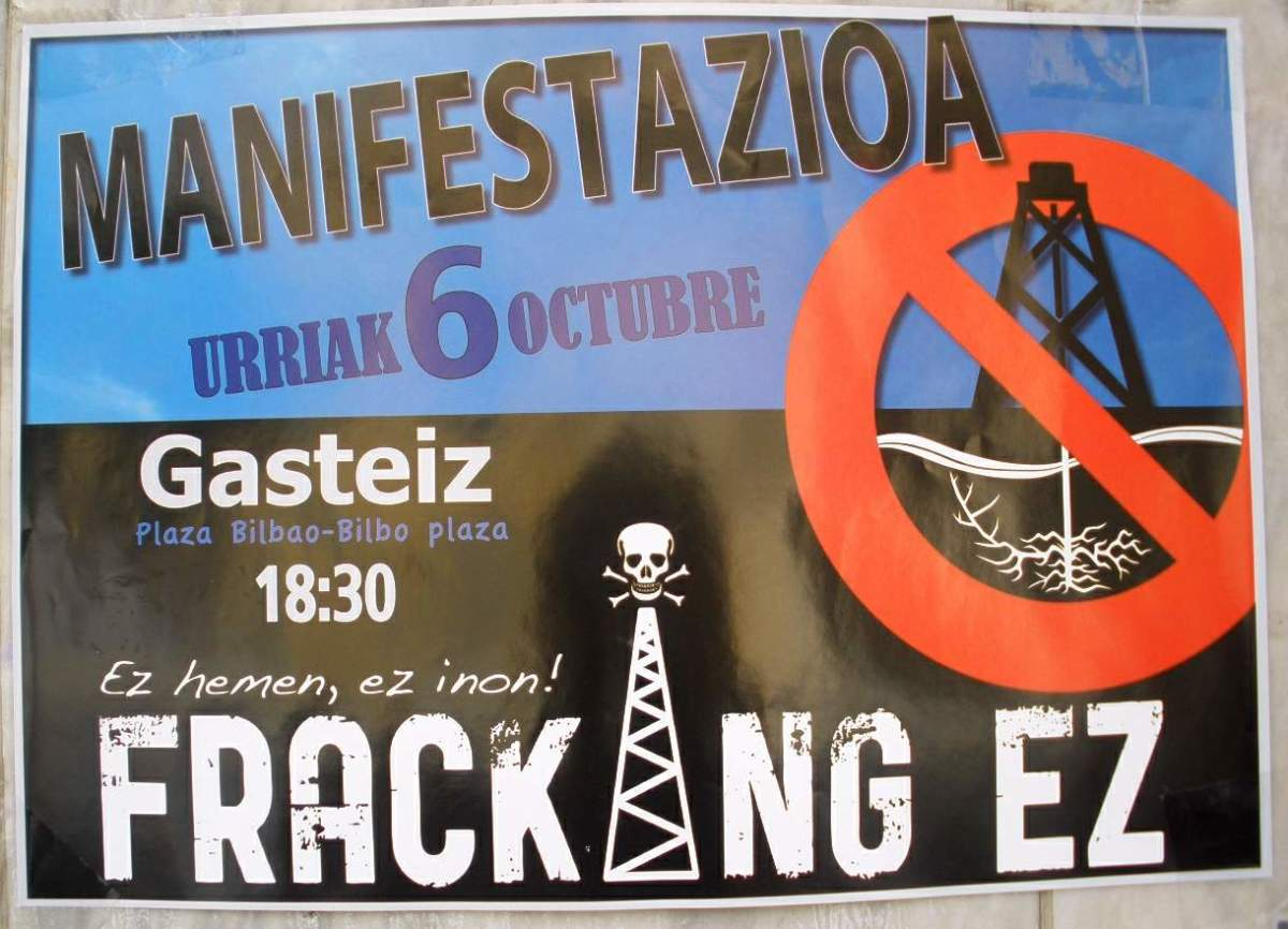 Anti-fracking poster in Vitoria-Gasteiz, Álava, Spain, October 2012.  Critics of fracking's concerns include water contamination, earthquakes, greenhouse gases, disruption to locals, and general environmental damage.