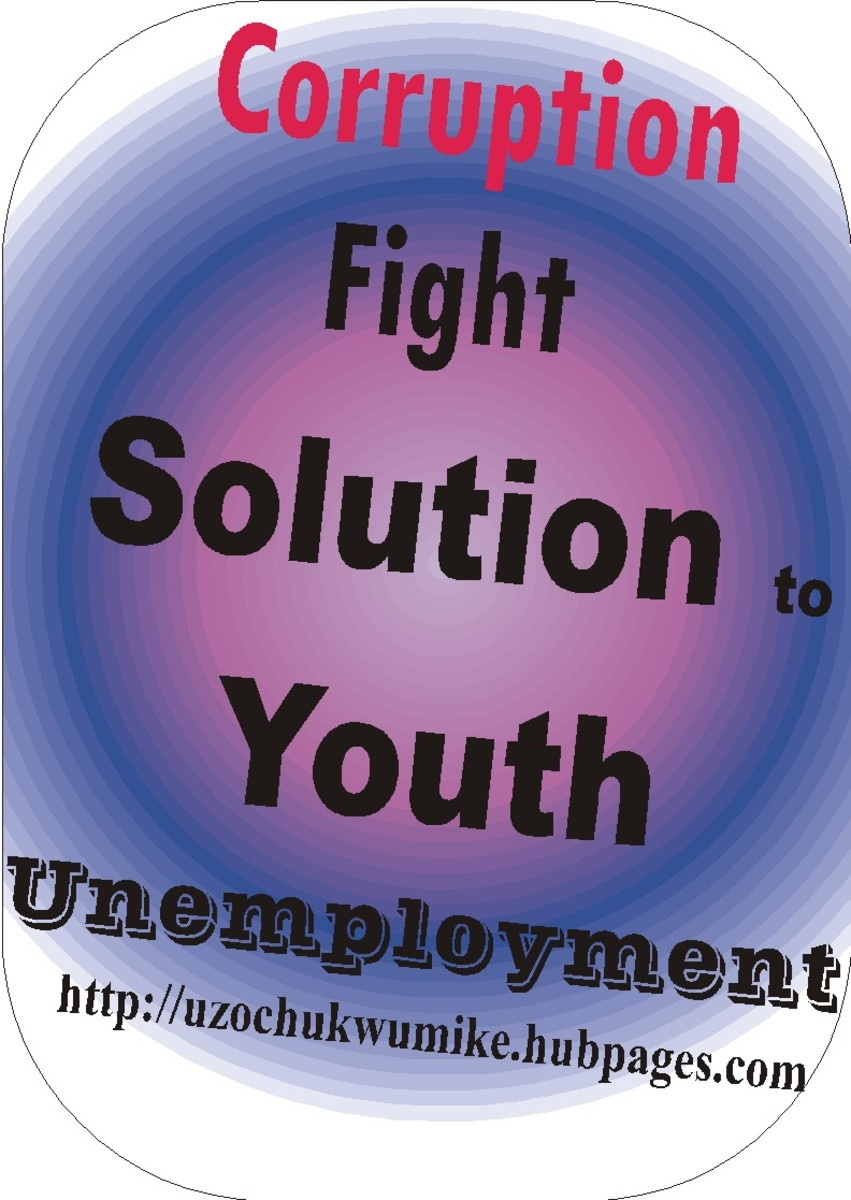 "Corruption fight as a solution to global youth unemployment. The red color used in the design of the word ""corruption"" shows that corruption is dangerous and can destroy a lot of valuable things."
