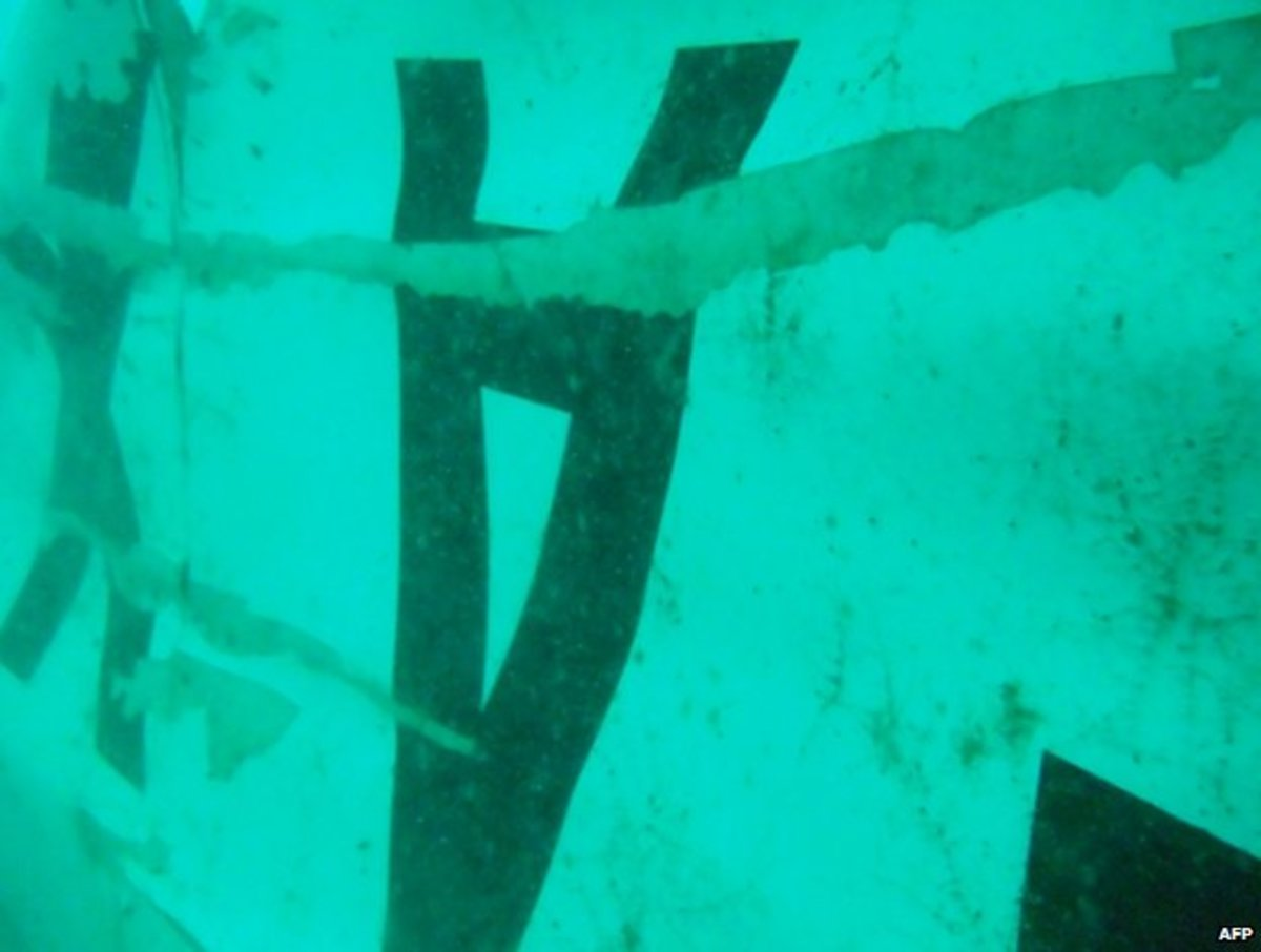 Wreckage of the plane's fuselage shown from underwater camera