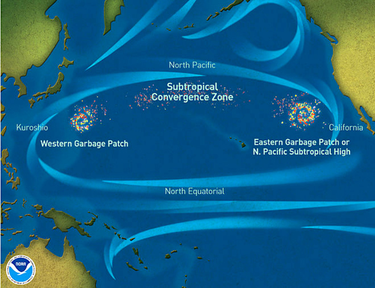 A map of the North Pacific showing the swirling currents which produce the vortex of garbage between California and Japan