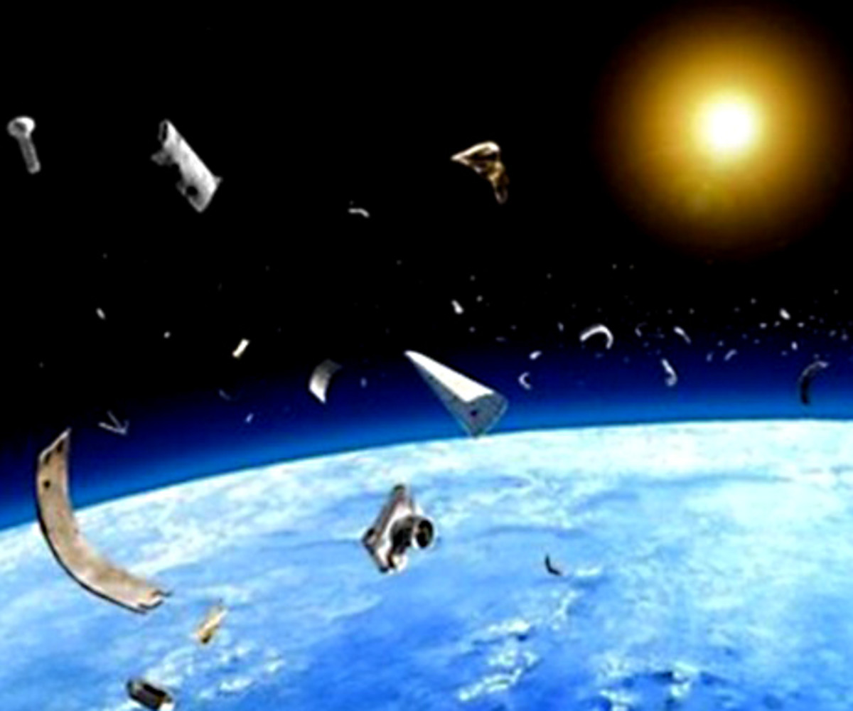 A graphic representation of debris in space