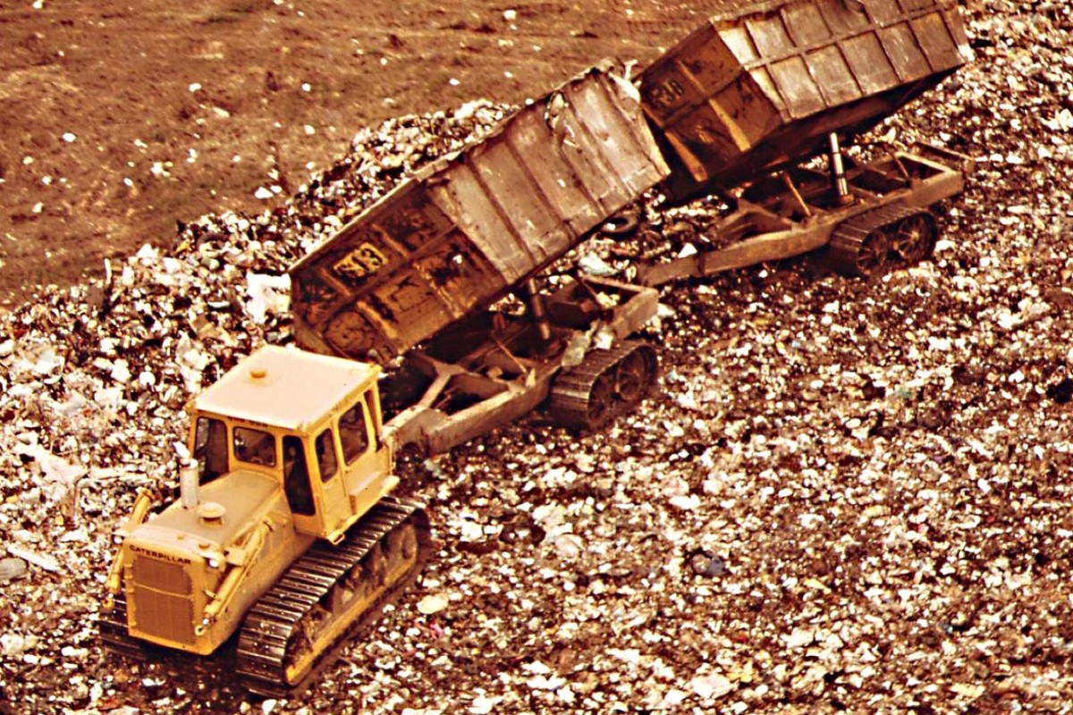 Fresh Kills before - a dump truck does its job
