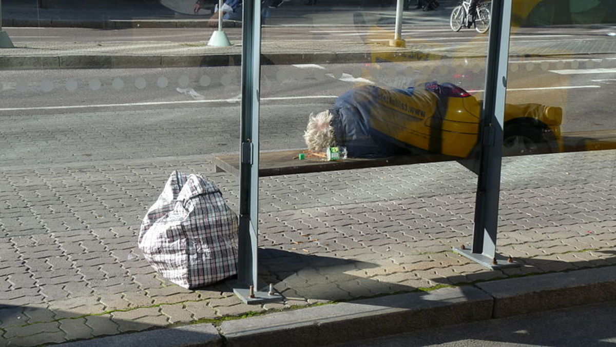 Sleeping on benches and keeping a public routine may indicate homelessness or simply a lack of good transportation options.