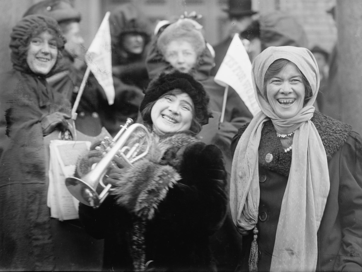 Women's suffragists demonstrate in February 1913
