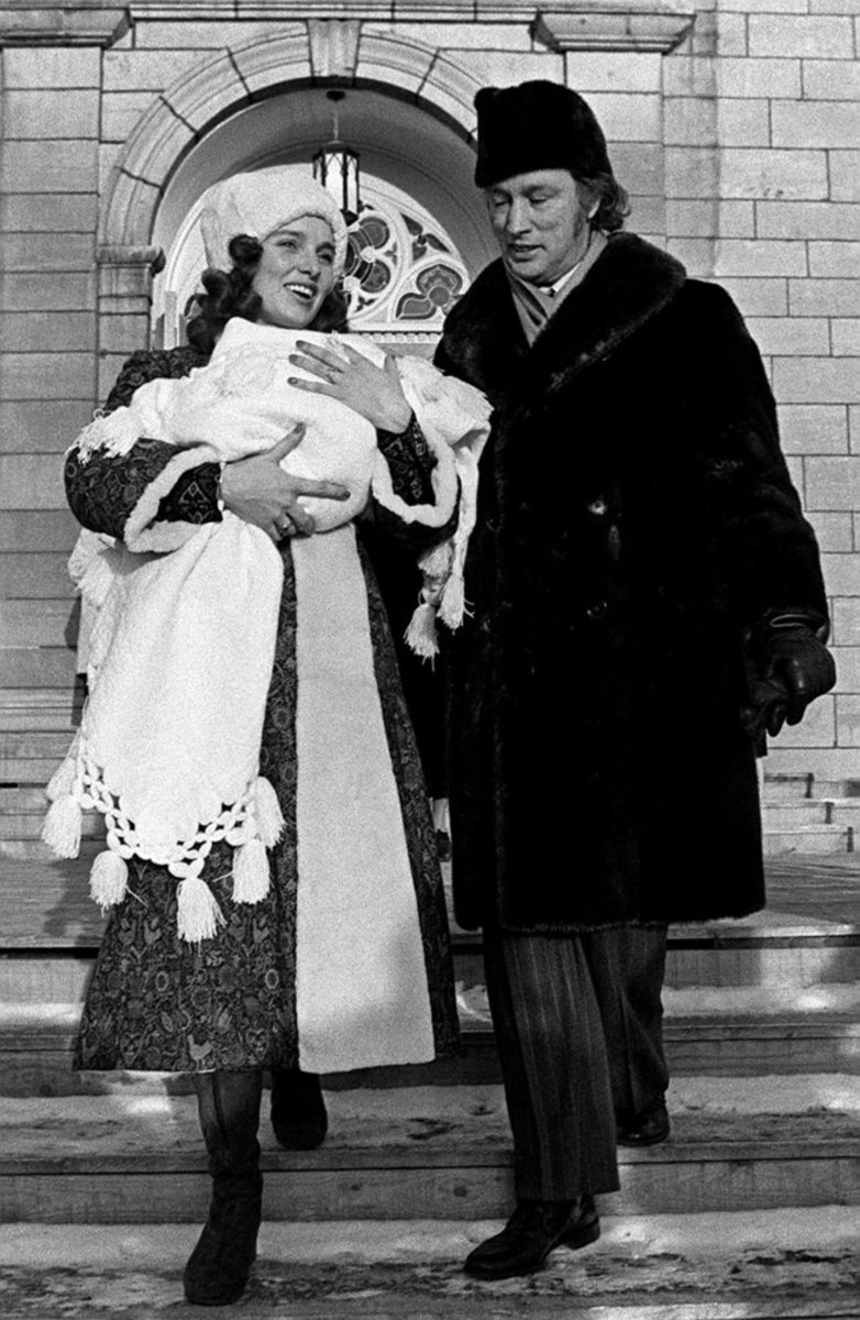 Prime Minister Trudeau and Margaret leave the city's Notre Dame Basilica Sunday afternoon after the christening of their 22-day old infant Justin Pierre James (Jan 16, 1972).