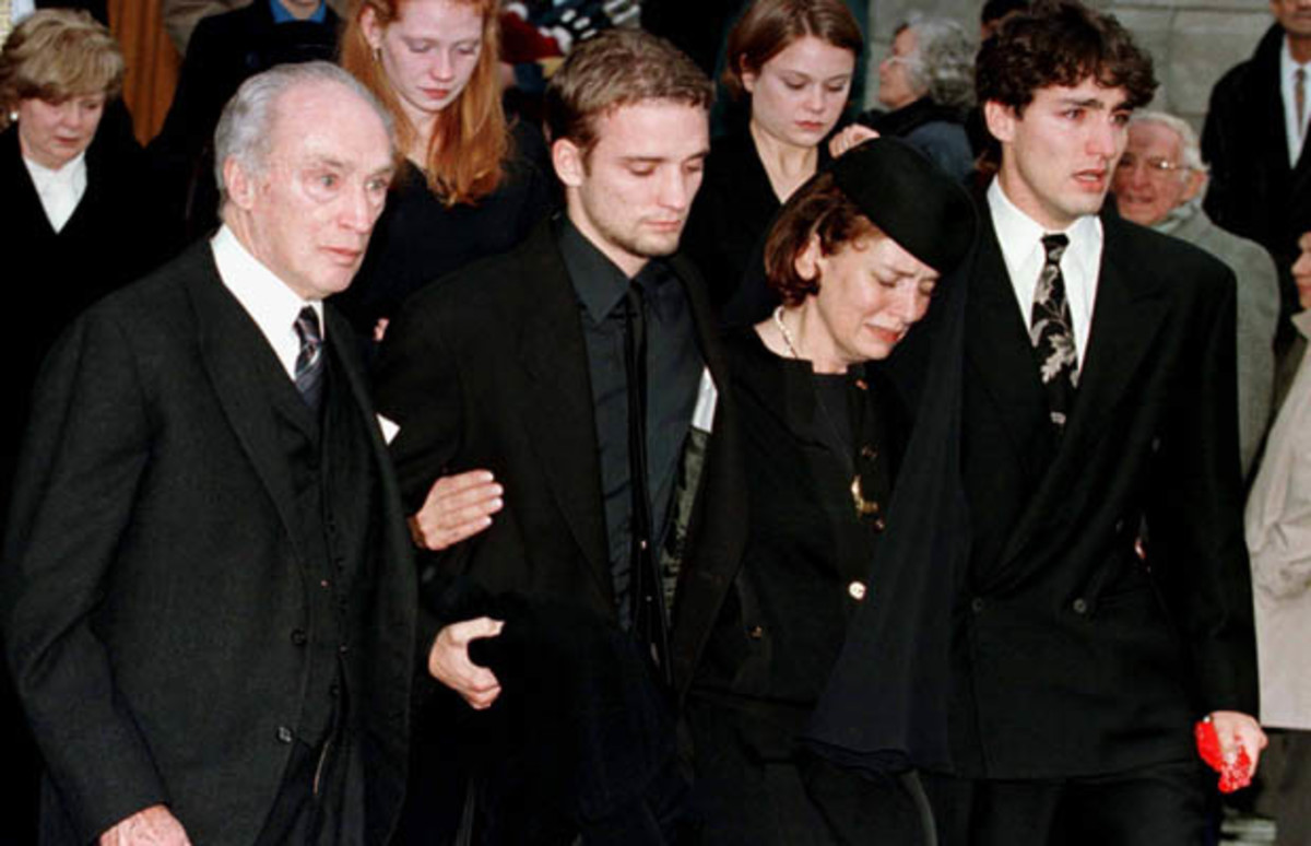Pierre Trudeau with his ex-wife Margaret (now Kemper) and their sons, Justin  and Sacha exit St. Viateur church in Montreal for a memorial service to Michel Trudeau (Nov 20, 1998)