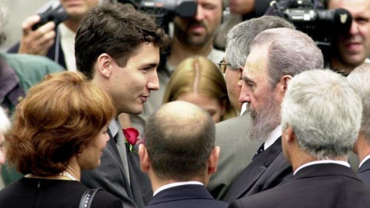 Cuban President Fidel Castro attends the funeral for Pierre Trudeau.
