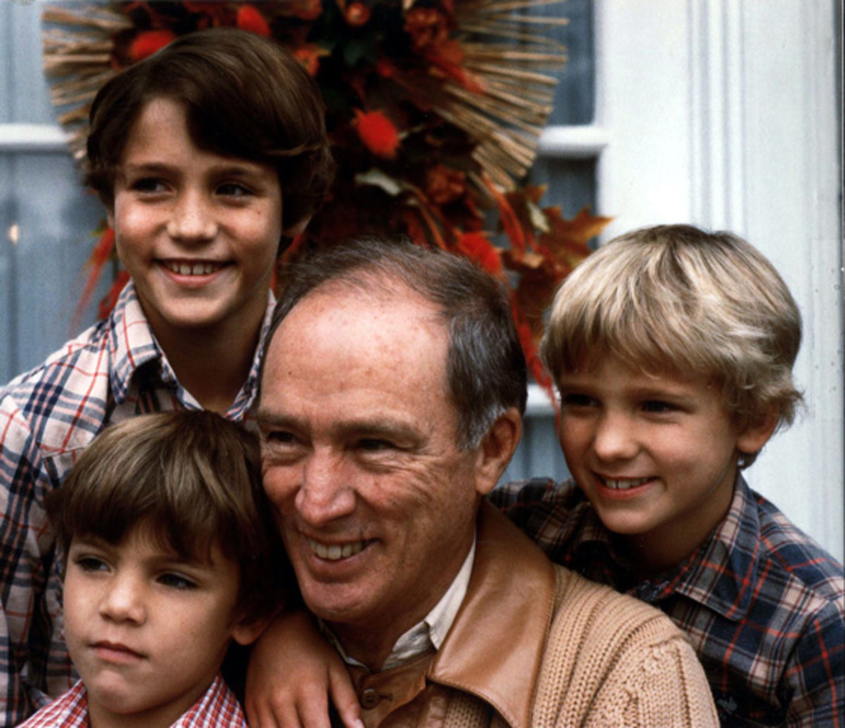 Pierre Trudeau  with sons Justin,10, (upper left), Michel 7, (lower left), and Sacha 8 (1982)