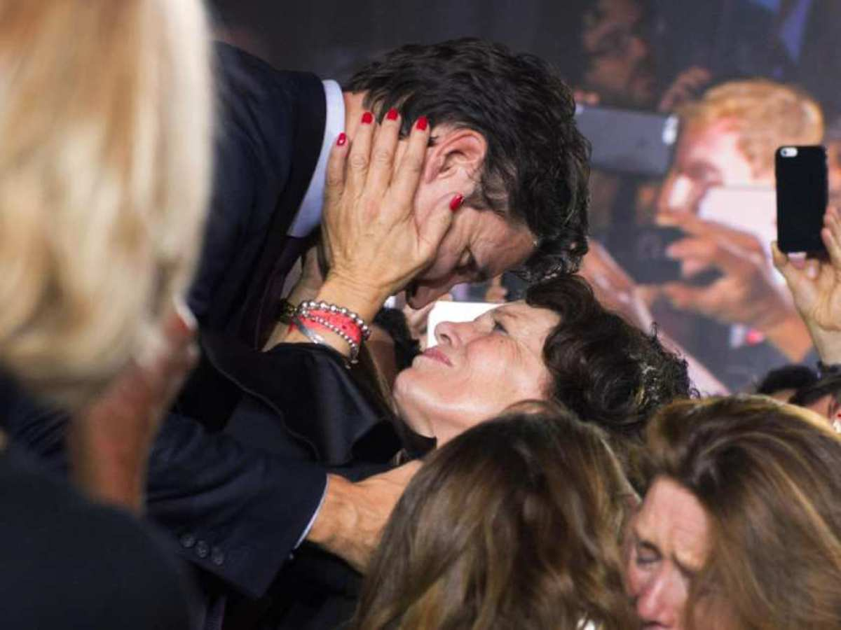 One of Margaret's proudest moments: she embraces Justin when he rises to give his victory speech after Canada's federal election in Montreal, Quebec (Oct 19, 2015)