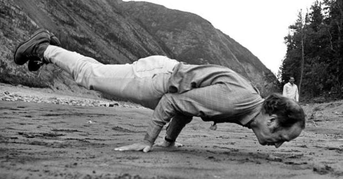Pierre doing the peacock yoga pose, 1970.