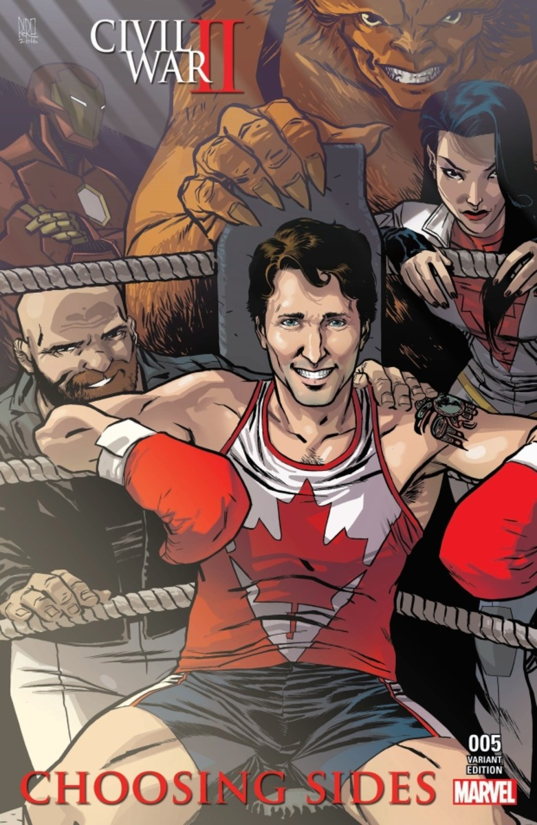 Cover of the comic Civil War II: Choosing Sides #5, featuring Prime Minister Justin Trudeau surrounded by the members of Alpha Flight, Aug 2016.
