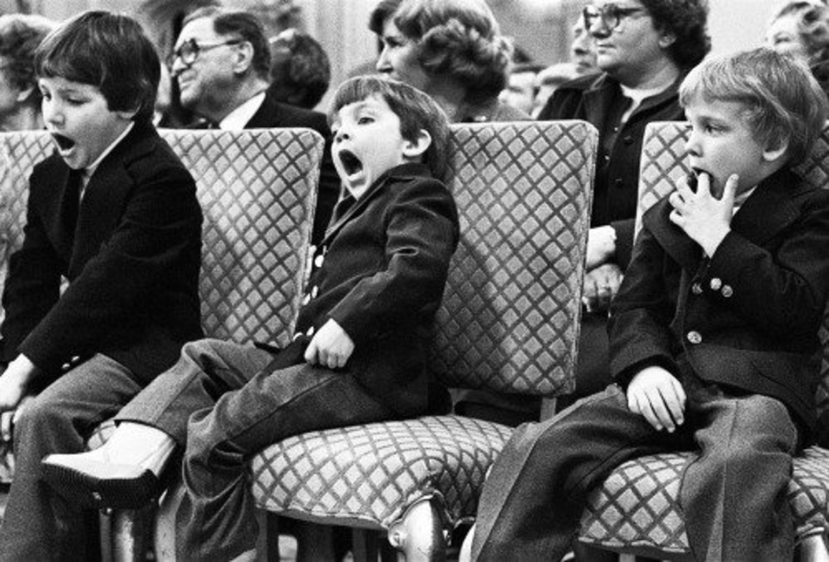 Justin, Michel, and Alexandre (Sasha) Trudeau watch their father at his swearing-in ceremony as Prime Minister of Canada (Mar 2, 1980)