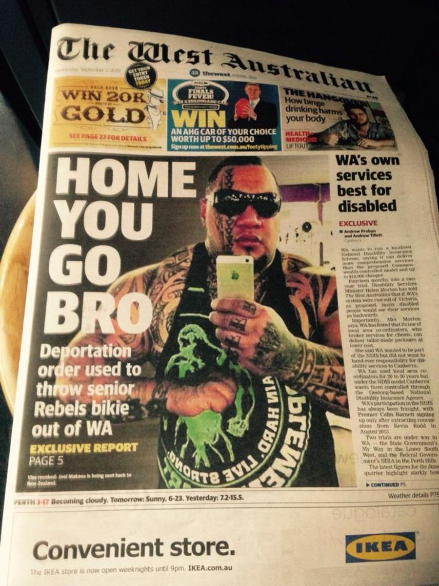 Front Page of Western Australian Paper depicting the Rebel Member Ko was visiting on the day of his arrest in the car park. Member also is being held without charge, and has a wife and young children here in Australia.