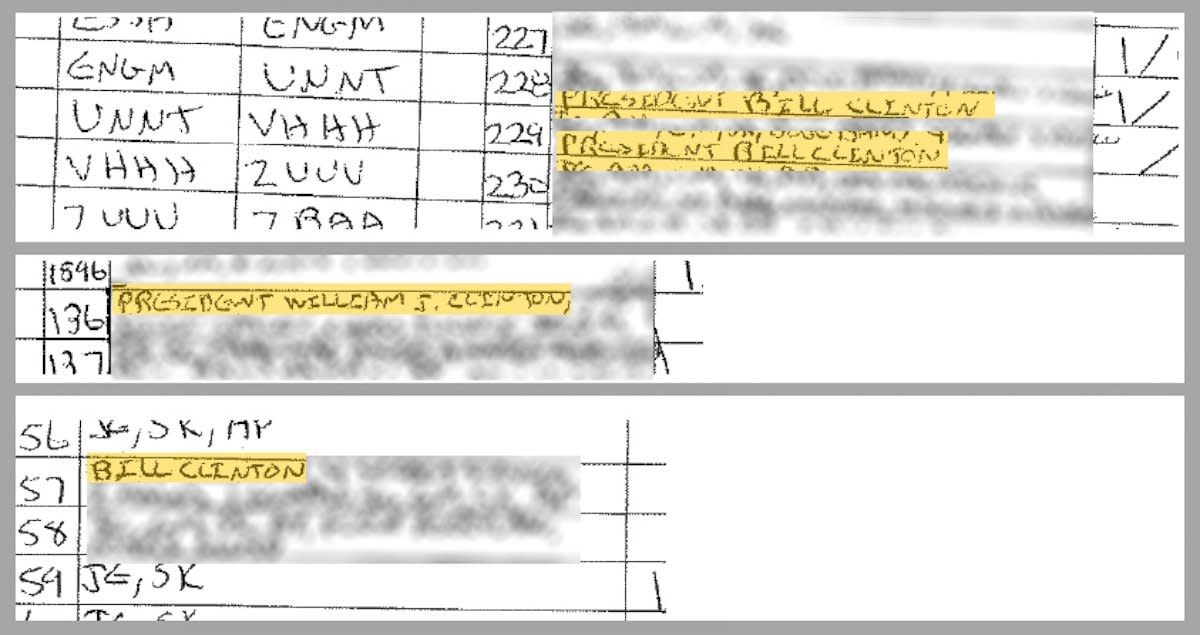 Flight log to Jeffrey Epstein's private plane showing Clinton as a passenger.