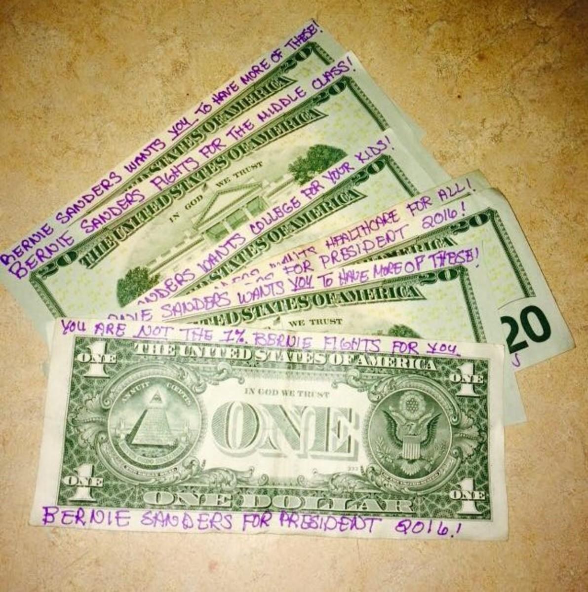 """Make some """"Bernie bucks"""" to spread the message"""
