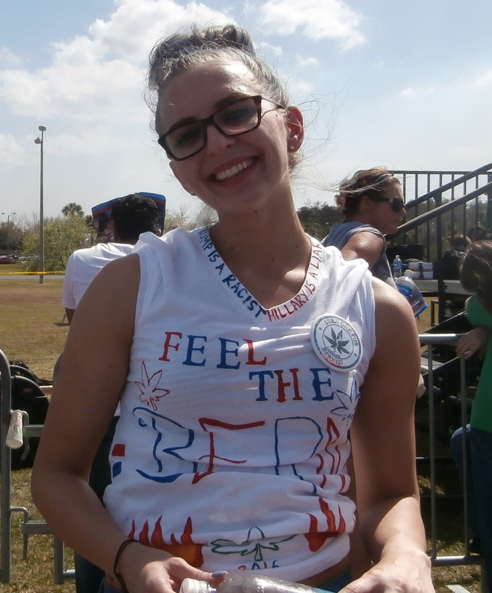 I met this Sanders' fan at a rally. She cleverly converted this white shirt into a promotion for Bernie.
