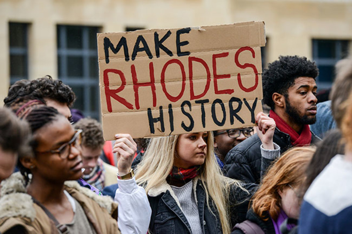 In March 2016, there was a protest at Oxford University demanding the removal of statues representing colonial era values