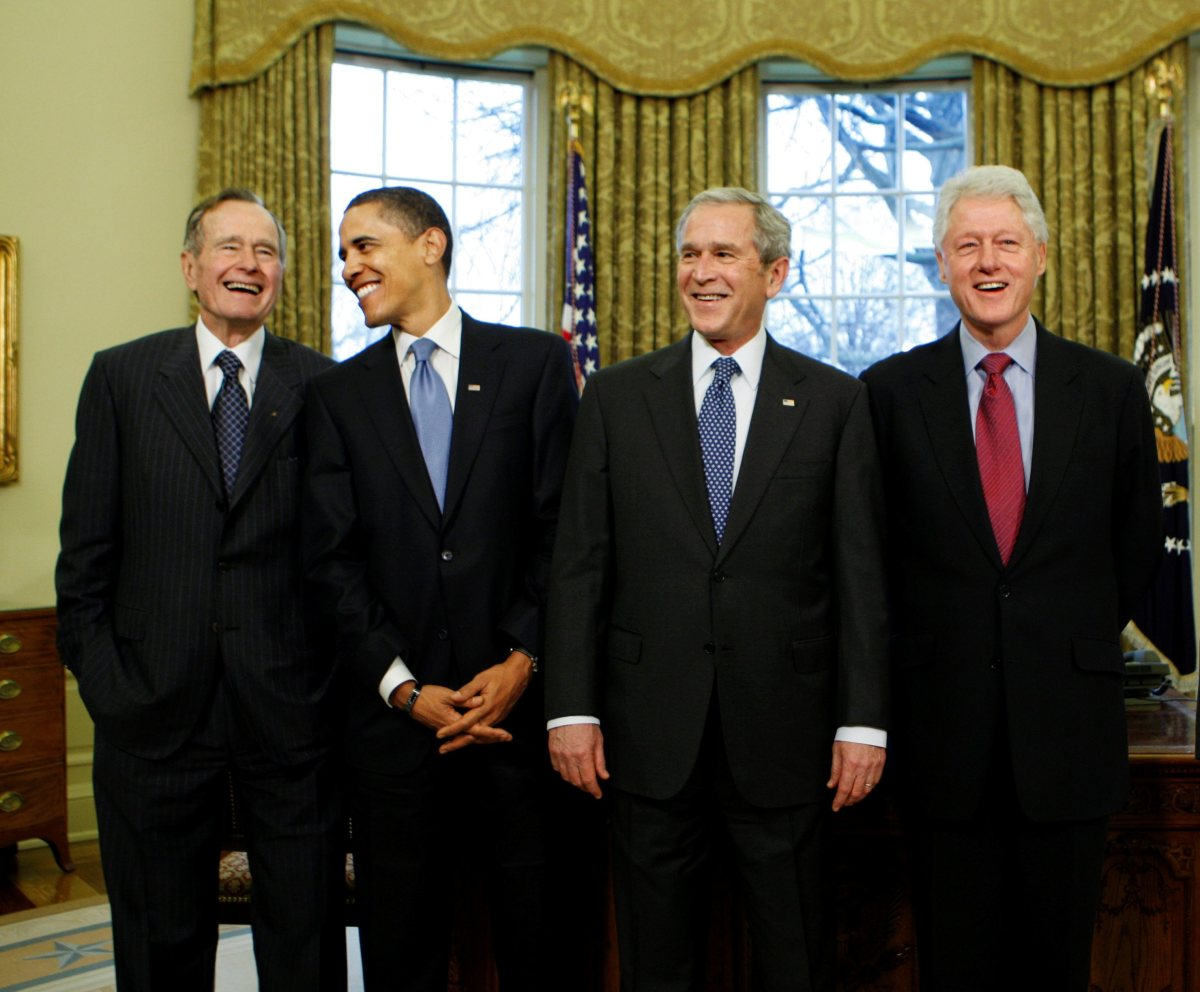 Presidents Bush, Obama, Bush, and Clinton
