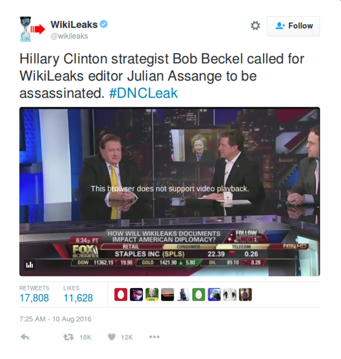 August 10, 2016 tweet from Julian Assange