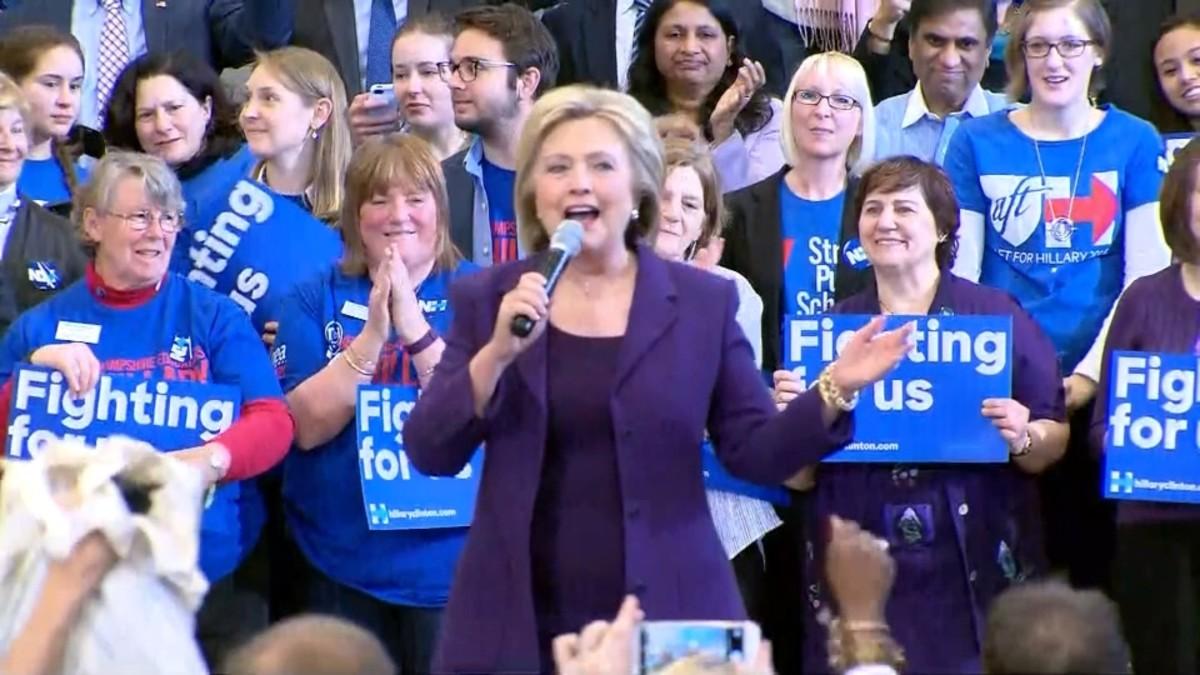Hilary Clinton at a rally.