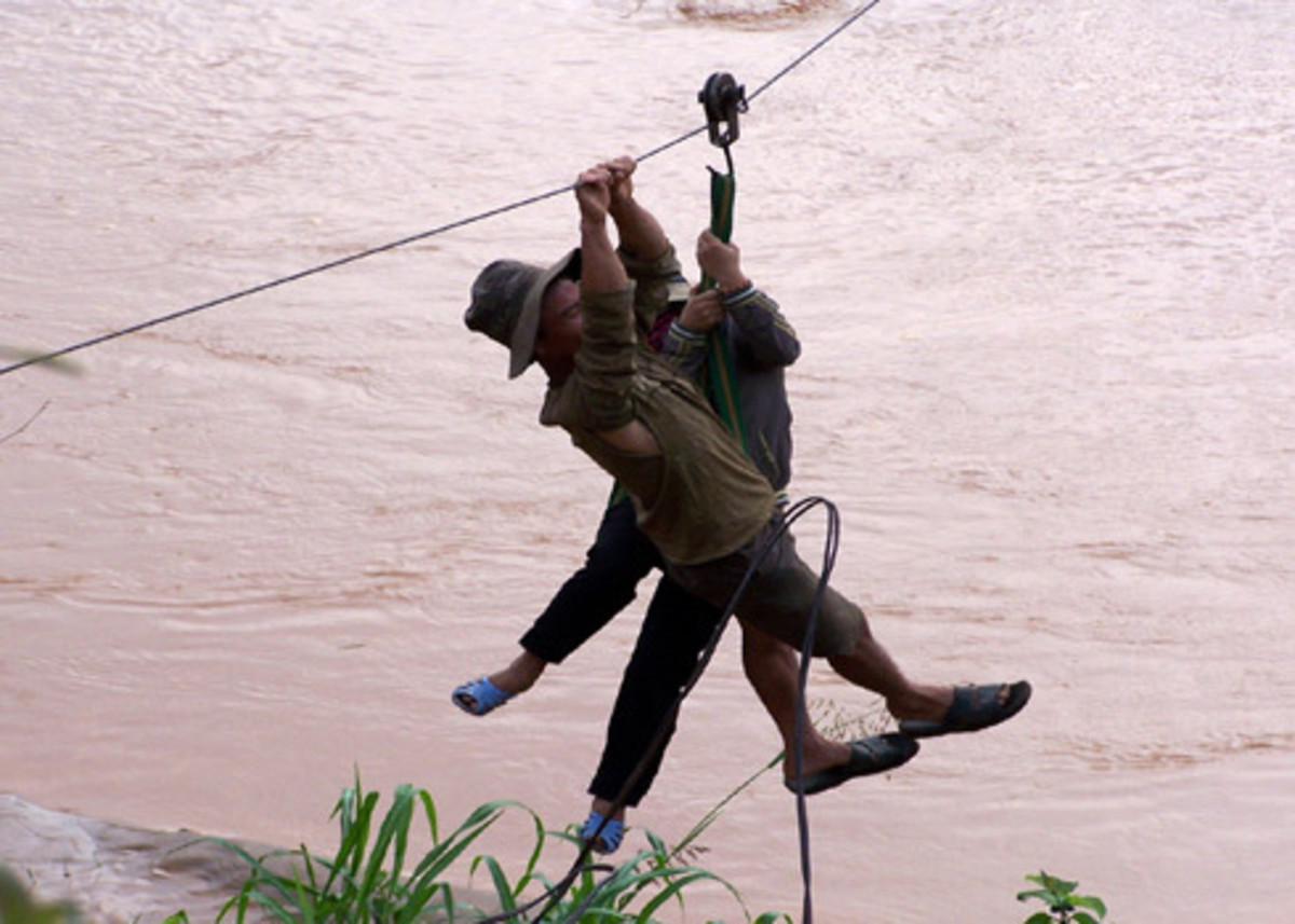 People sliding a cable to cross the river in Kontum Province, Vietnam