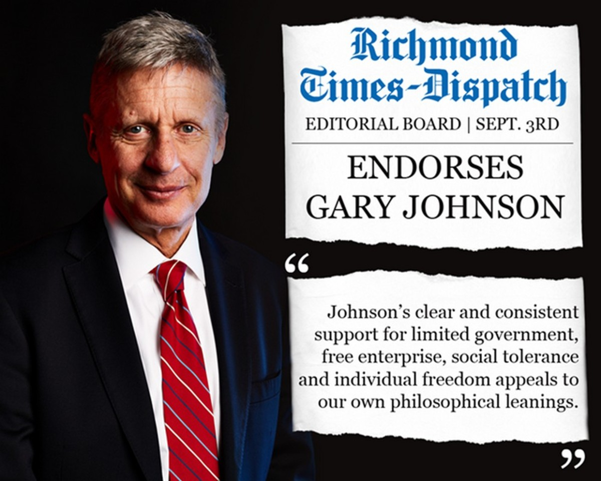 Major coup for Gary Johnson, an editorial endorsement from Virginia's Richmond Times Dispatch