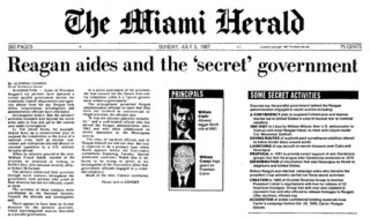 "The article published in the Sunday Miami Herald on July 5, called ""Reagan aides and the 'secret' government"" documented a ""parallel government behind Reagan engaged in a contingency plan to suspend the Constitution and impose martial law..."""