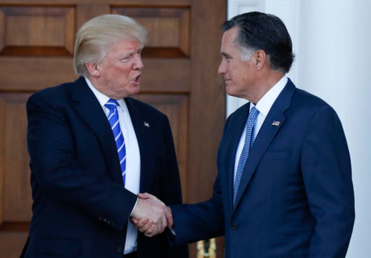 President-Elect Donald Trump (left)  shown after meeting with Mitt Romney after meeting Saturday at Trump National Country Club in New Jersey.  Rumors are Romney may be named Secretary of State.