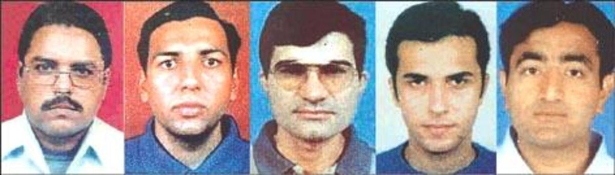 Hijackers of IC 814 - Ibrahim Athar, Sunny Qazi, Shahid Sayed, Mistri Zahoor & Shakir (Left to Right)