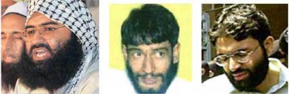 Terrorists released by Government of India, Maulana Masood Azhar(L), Mushtaq Zargar(C),Omar Sheikh(R)