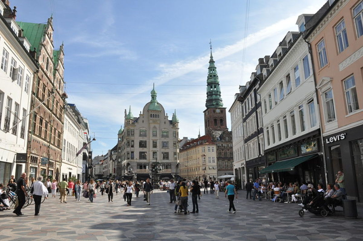 Copenhagen, Denmark. Most of the markets and streets of the old town are closed to motor traffic.