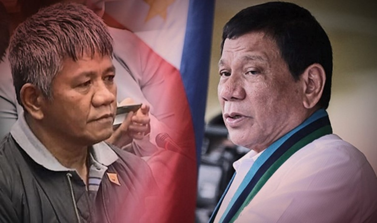 Matobato (L) and President Duterte(R) has filed a criminal complaint against him via Senator De Lima.