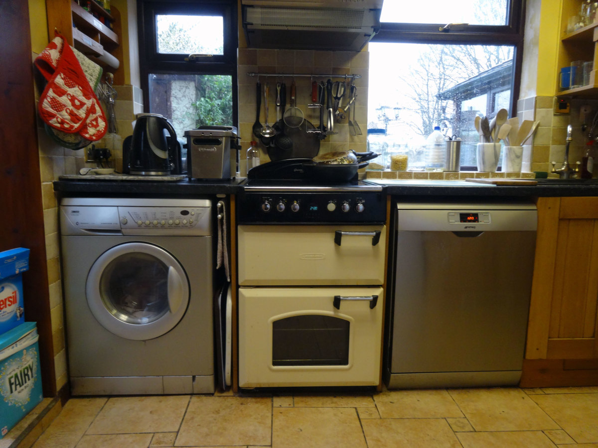 Our washing machine with built-in dryer, in the kitchen next to the cooker; and on the other side of the cooker is the dishwasher.