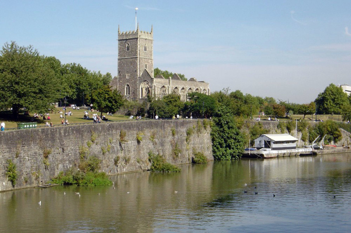 Castle Green, Bristol, where the original bridge that gave Bristol its name spanned the River Avon, and the site where Bristol Castle once stood.
