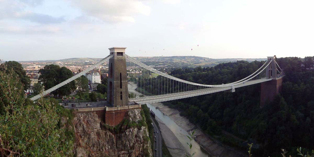 A view of Bristol City from Clifton Suspension Bridge which spans the River Avon; the bridge being designed by Isambard Kingdom Brunel and opening in 1864.