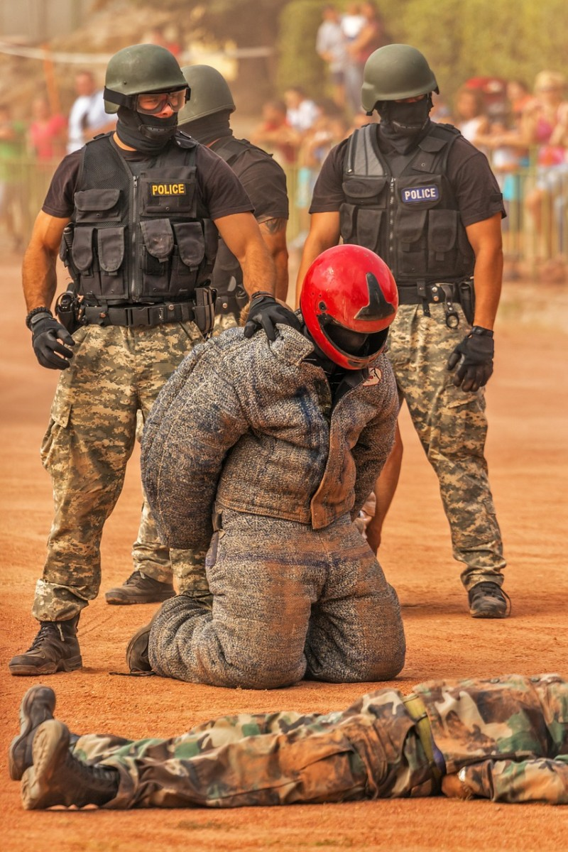 Typical militaristic style of police training reflecting a 'them or us' mindset