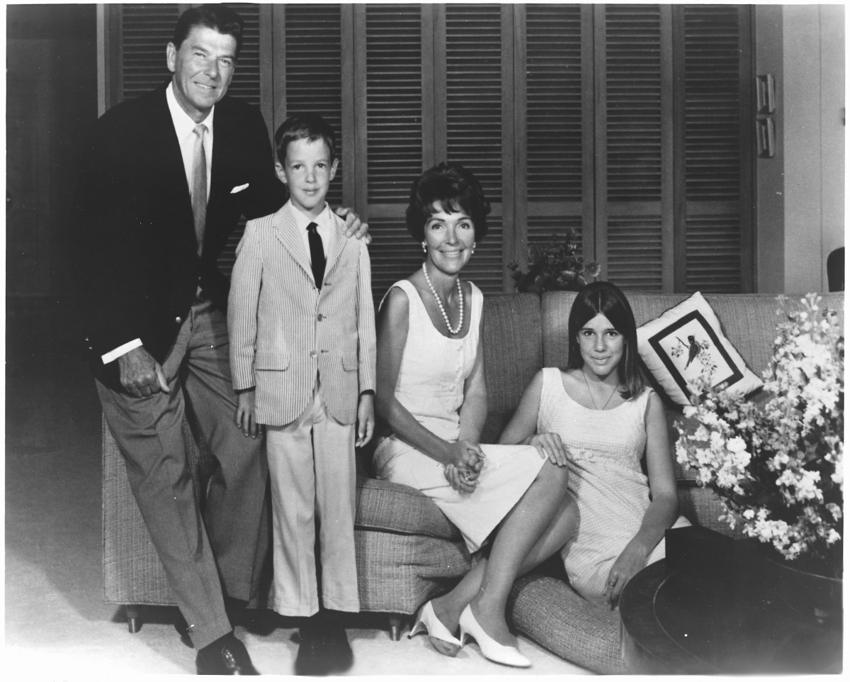 Photograph of Governor Ronald Reagan, Ron Junior, Mrs. Reagan, and Patti Davis. Circa 1967.