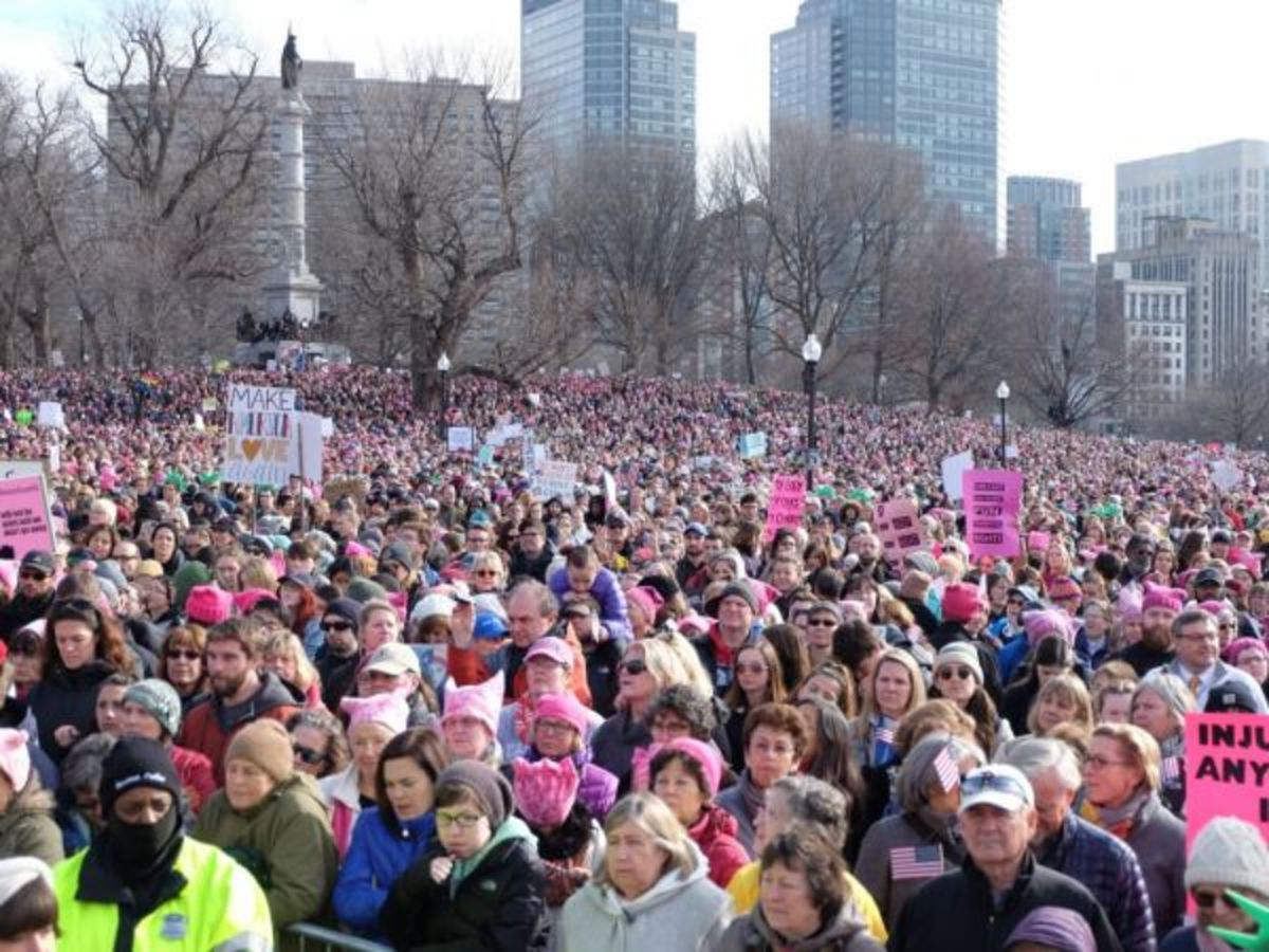 The crowd at the women's march
